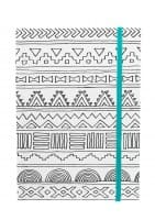 HALL PASS - ELASTIC NOTEBOOK - 5 X 7 - TRIBAL (80 SHEETS)