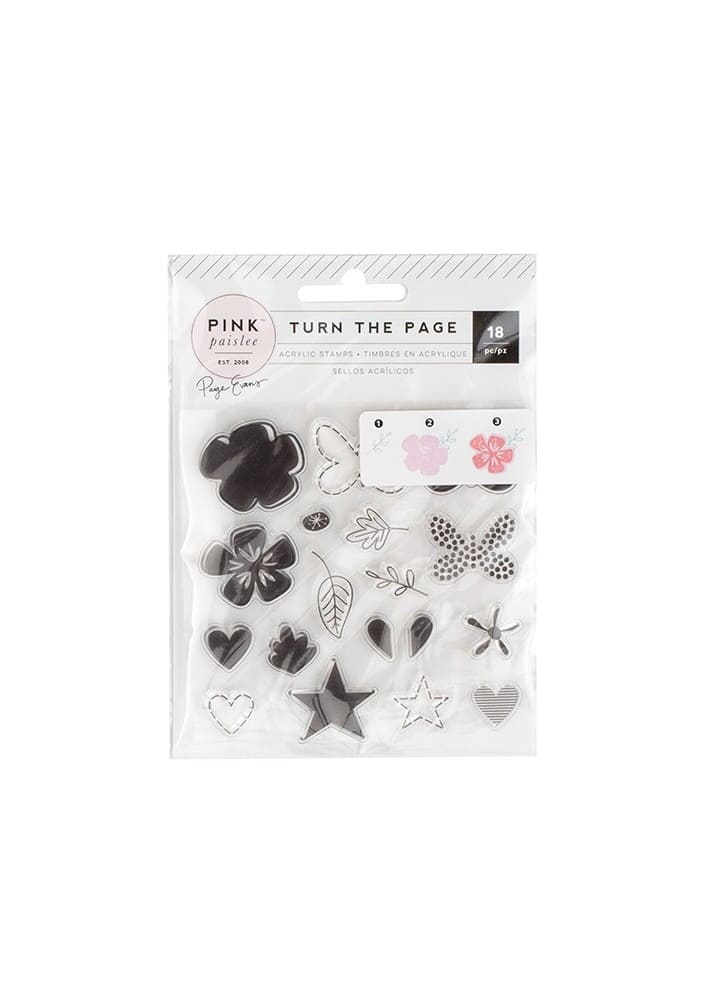 TURN THE PAGE - ACRYLIC STAMP SET - (18 PIECE)