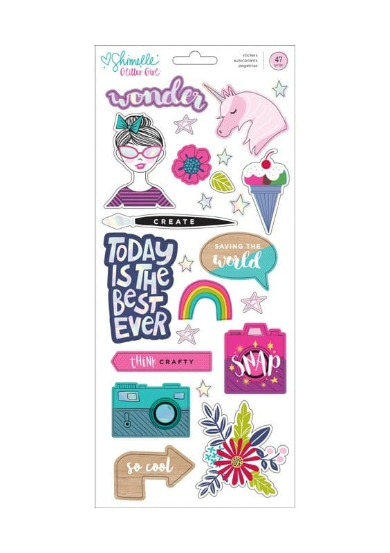 GLITTER GIRL - 6 X 12 - ACCENT & PHRASE - HOLOGRAPHIC FOIL - (47 PIECE)