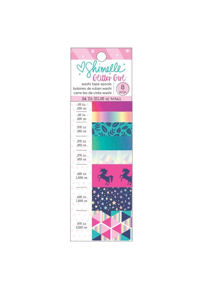 GLITTER GIRL - WASHI TAPE - FOIL & GLITTER ACCENTS - (8 PIECE)