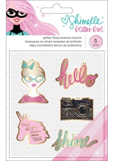 GLITTER GIRL - ENAMEL CHARMS - (5 PIECE)