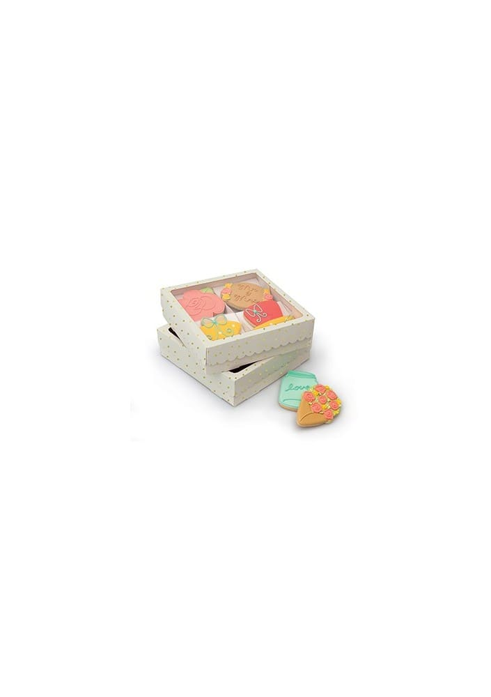 COOKIE BOX - AC - SS - QUAD COOKIE BOX - GOLD DOTS - WHITE (3 PACK)