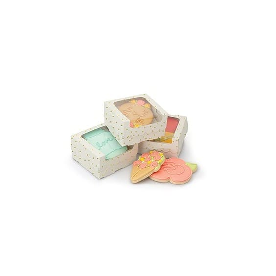 COOKIE BOX - AC - SS - SINGLE COOKIE BOX - GOLD DOTS - WHITE (4 PACK)